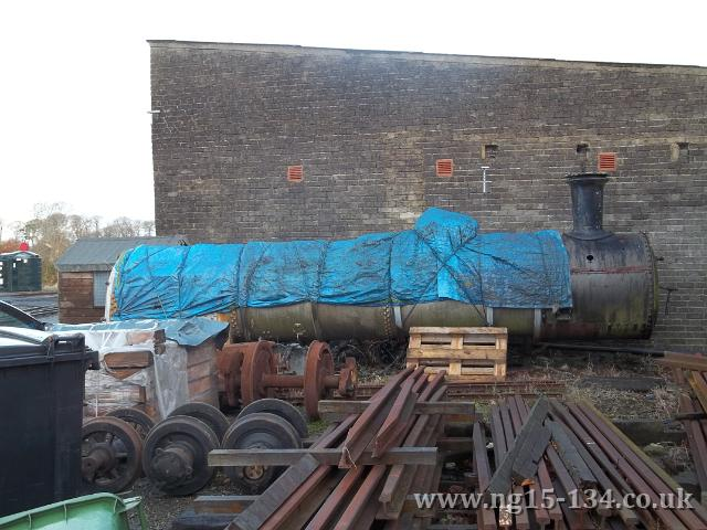 №134's Boiler re-covered after the last tarpaulin was very much shredded by the weather. (Photo: Laurence Armstrong)